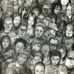 illustration of a crowd of people by Vincent Fink