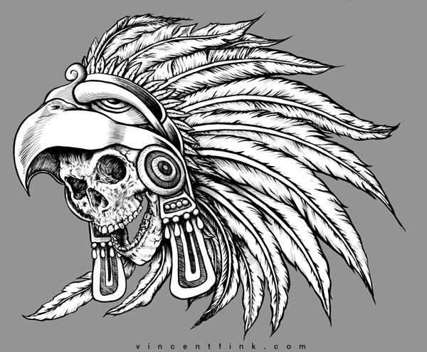 Aztec Warrior Skull Drawing
