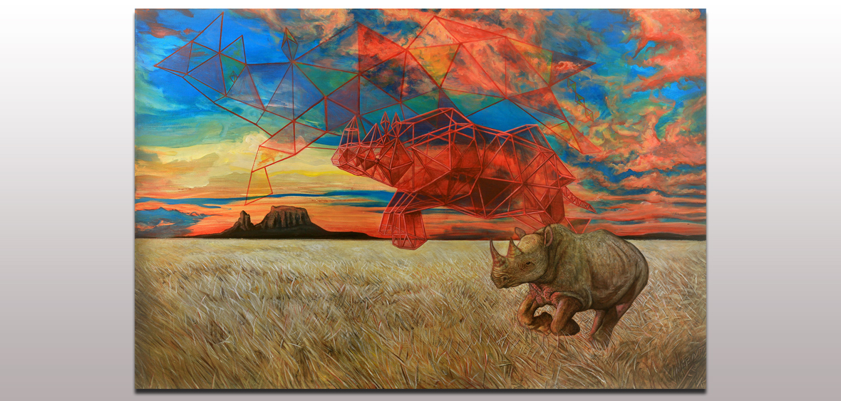 014 Rhinoceros Running Through Fields of Energy