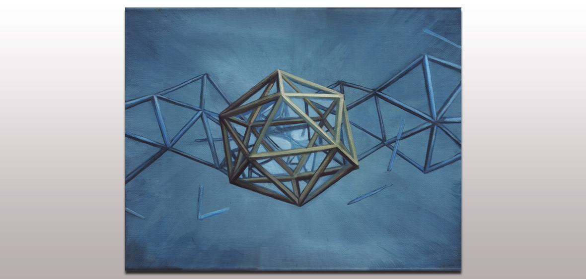 034 Icosahedron Blue